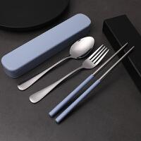 不锈钢便携餐具套装创意可爱勺筷子三件套叉子旅行筷子盒情侣学生