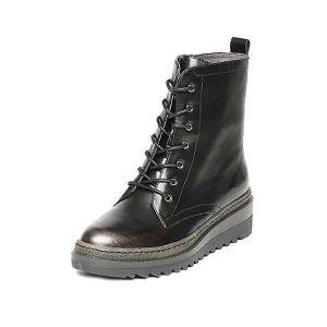 Tata/他她冬黑/铜牛皮时尚擦色休闲绑带坡跟女中靴2U405DS6