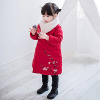 儿童羽绒服女童中长款2017新款公主女童复古汉服冬刺绣外套中国风