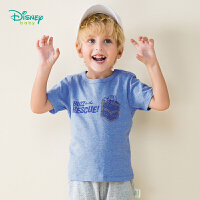 【99元3件】迪士尼Disney童装 巴斯光年印花短袖夏季新款男童肩开T恤儿童纯棉透气汗衫百搭