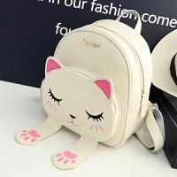 新款韩版猫咪双肩包女学院风时尚百搭学生书包卡通小清新背包