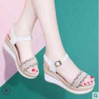 坡跟凉鞋女鞋高跟夏季波西米亚防水台2018新款韩版厚底罗马松糕鞋