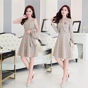 连衣裙春季2018新款女中长款韩版气质两件套中裙淑女套装格子裙子