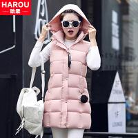 青少年秋冬装少女韩版中长款羽绒马甲棉衣背心马夹外套中学生