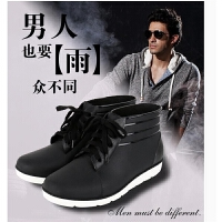男式雨鞋防水防滑仿皮鞋厨房鞋厨师胶鞋劳保鞋工作雨靴爸爸套鞋