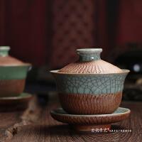 龙泉青瓷盖碗 茶具大号跳刀茶碗 陶瓷功夫茶三才盖碗茶杯