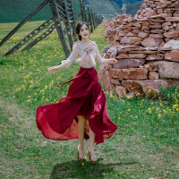 20180821232427695夏季女装复古气质蝴蝶结雪纺衬衫搭配鱼尾半身长裙套装裙两件套仙 裸色上衣+酒红色半身裙