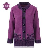 中老年女装毛衣妈妈装秋冬装针织衫大码开衫羊毛衫加厚奶奶装外套