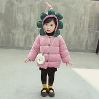 女宝宝秋装0一1-2-3岁韩版潮婴儿衣服洋气小女童冬装棉衣 粉
