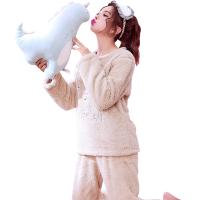学生睡衣秋冬加厚法兰绒套装家居服韩版淑女甜美长袖珊瑚绒可爱