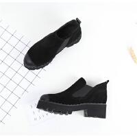 176 圆头厚底套脚切尔西 粗跟女短靴