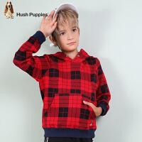 【3件3折:128.7元】暇步士童装冬季新款男童卫衣时尚格子连帽套头卫衣儿童卫衣