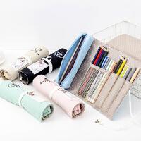 大容量笔袋学生创意文具盒帆布可爱卷笔帘中小学生简约清新铅笔袋