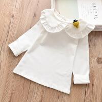 女童打底衫秋冬3女宝宝花边领长袖上衣加绒加厚纯棉娃娃领t恤白色