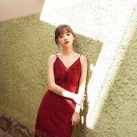 性感吊带蕾丝连衣裙2018春装新款显瘦修身度假沙滩长裙女夏装裙子 酒红色