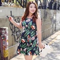 MsShe加大码女装2017新款秋装胖mm显瘦棉无袖背心连衣裙M1730177