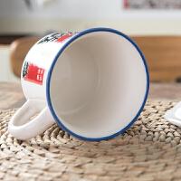 搪瓷杯办公室马克杯陶瓷杯咖啡杯带盖勺瓷杯子搪瓷缸家用少女心