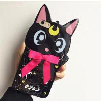【包邮】露娜猫iphone6plus手机软壳美少女战士苹果6张馨予同款可爱黑猫iphone6s苹果手机壳挂脖软胶保护套