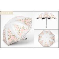 防黑胶遮阳伞二折蕾丝刺绣太阳伞公主伞晴雨伞女洋伞