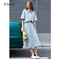 【到手价:149元】Amii极简原宿风学生牛仔衬衫女2019秋季新款口袋尖领浅色棉质上衣