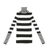 高领毛衣女套头秋冬新款韩版修身短款长袖条纹针织衫百搭打底衫潮 均码