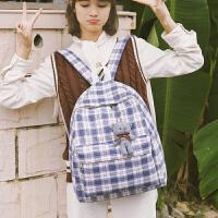 格子帆布书包女高中大学生双肩包复古大容量电脑背包