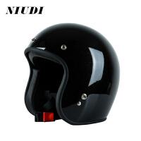 摩托车复古哈雷头盔小牛电动车头盔男女四季个性酷冬季电瓶车头盔 黑色 头围56到59 XL