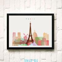 北欧现代装饰画卧室挂画小清新画创意卡通建筑纽约巴黎铁塔水彩画 23*28 白色画框 单价