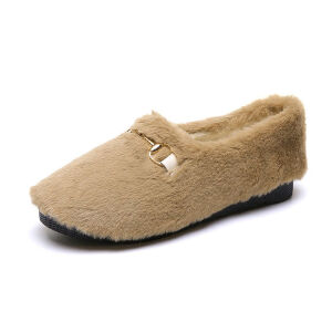 WARORWAR 2019新品YM91-F9900-1冬季韩版平底鞋舒适女鞋潮流时尚潮鞋百搭潮牌乐福鞋毛毛鞋