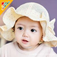 新款婴儿帽子宝宝帽子小碎花盆帽遮阳帽春夏季公主妈妈3942