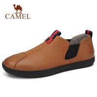 camel骆驼男鞋 马云福字同款日常休闲套脚牛皮鞋子工作乐福板鞋