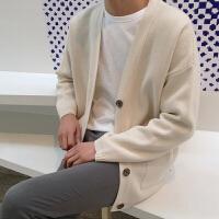 日系男士毛衣V领针织衫男开衫纯色长袖毛线衣单排扣外套男