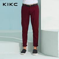 kikc男装休闲裤2018夏季新款青年直筒纯棉微弹都市时尚潮长裤男士