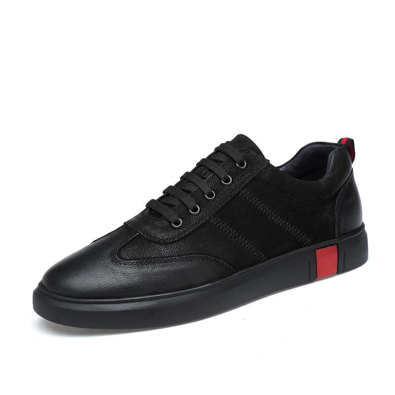 特大码真皮潮鞋英伦青年板鞋45男士休闲鞋46复古小黑鞋百搭男鞋子 系带黑色