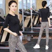 健身房服跳操运动衣瑜珈显瘦女 新款速干瑜伽服套装女黑色短袖T恤上衣豹纹长裤