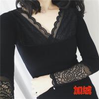 秋冬蕾丝打底衫黑色纯棉加绒加厚保暖内衣紧身美体长袖百搭上衣女