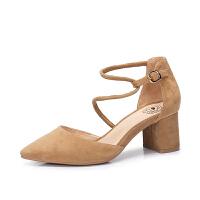 camel 骆驼女鞋 2018新款夏季尖头女高跟鞋 简约舒适通勤性感粗跟单鞋女
