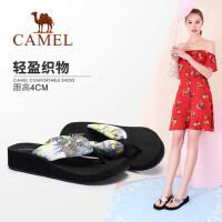 骆驼女鞋 2018夏季新款 时尚韩版外穿厚底防滑沙滩凉拖高跟人字拖