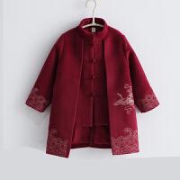 男童唐装冬装加厚儿童汉服童装中国风中式服装拜年服宝宝毛呢外套 红色 外套