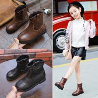 女童靴子单靴2018新款冬季韩版公主真皮加绒儿童短靴女孩棉靴子潮 (加棉内里)