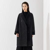 CHIN祺毛呢绵羊毛大衣女2020早春新款韩版高端中长款毛呢外套