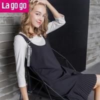 【清仓3折价91.8】Lagogo/拉谷谷2019年秋季新款时尚连衣裙两件套