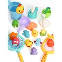 宝宝洗澡玩具套装小黄鸭儿童浴室捞鱼戏水花洒鸭子捏捏叫女孩男孩 抖音