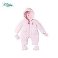 迪士尼Disney童装 男女宝宝连帽夹棉连体衣可拆卸手脚套冬季新品加厚保暖爬服194L846