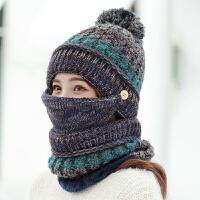 帽子女冬天骑车保暖毛线帽女生秋冬季户外针织帽潮帽围脖