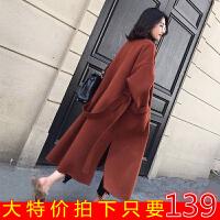 秋冬新款韩版毛呢外套女中长赫本风宽松显瘦加厚保暖呢子大衣