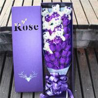 送女朋友生日 圣诞节花束公仔小熊19朵礼盒香皂花束玫瑰礼盒品