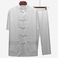 爸爸唐装男短袖套装爷爷夏季衣服老人60岁中老年人中年中国风男装 39/170 【90斤-120斤】