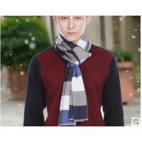 新款时尚加厚长款针织毛线围脖韩版潮保暖格子羊毛围巾男士
