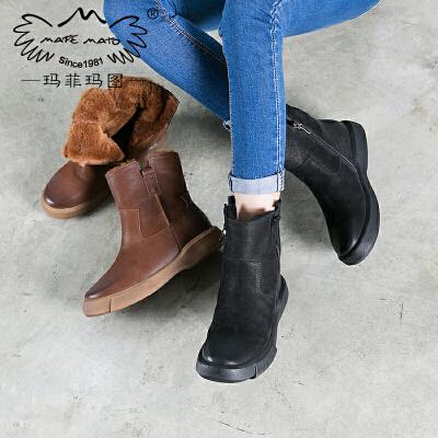 玛菲玛图皮毛一体雪地靴女短筒2018新款短靴保暖加绒靴子女鞋 季加厚棉鞋M1981009T43SM原创设计女鞋,晒图有红包。